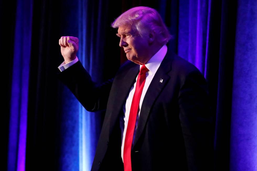 Donald Trump, en la noche de su victoria electoral, en Nueva York.