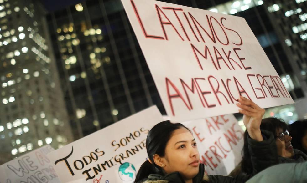 Manifestación contra las medidas migratorias de Trump en Nueva York.