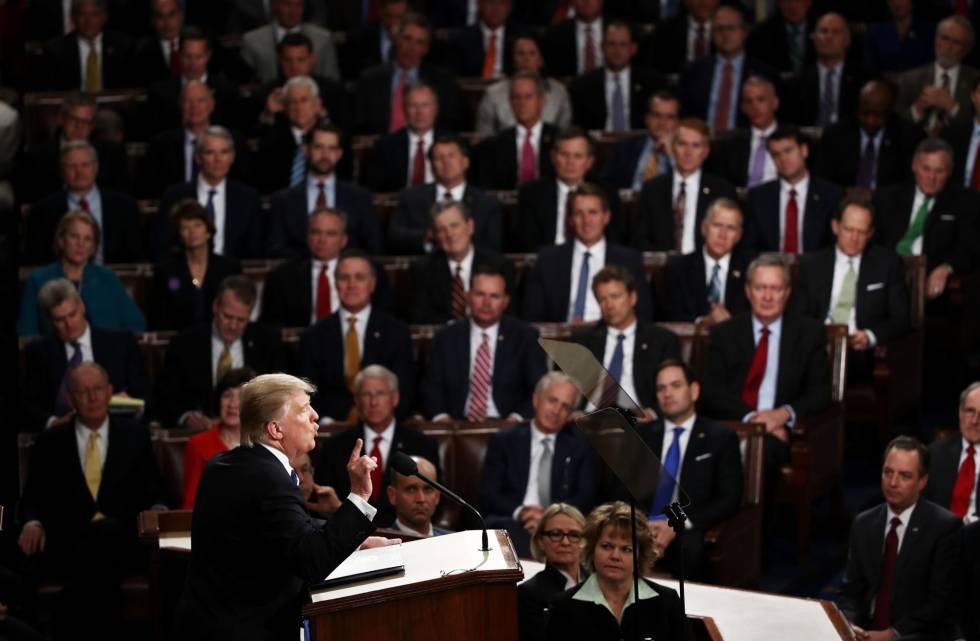 El presidente Donald Trump, durante su intervención.