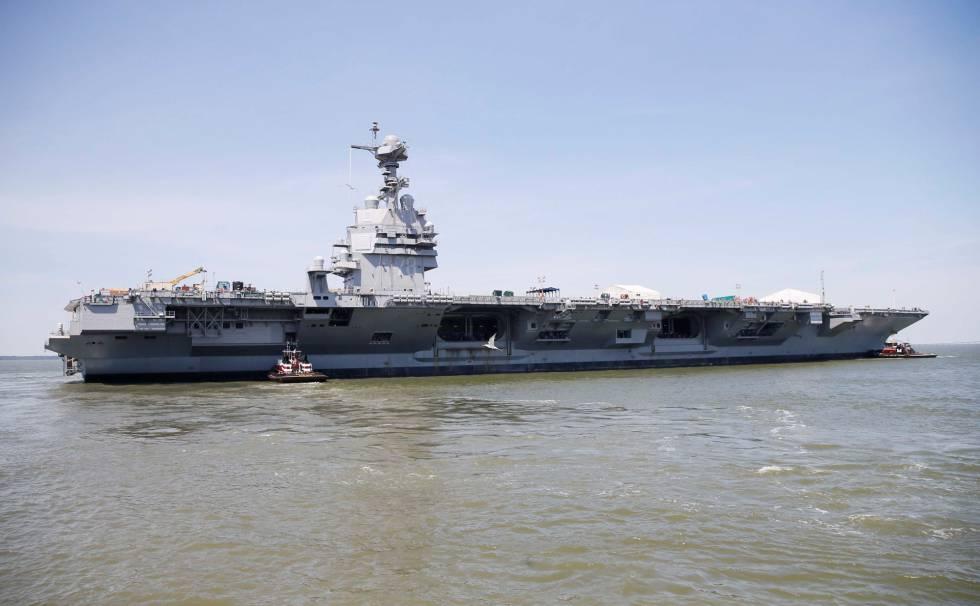 Una imagen del Gerald R. Ford, el buque más moderno de la Armada estadounidense