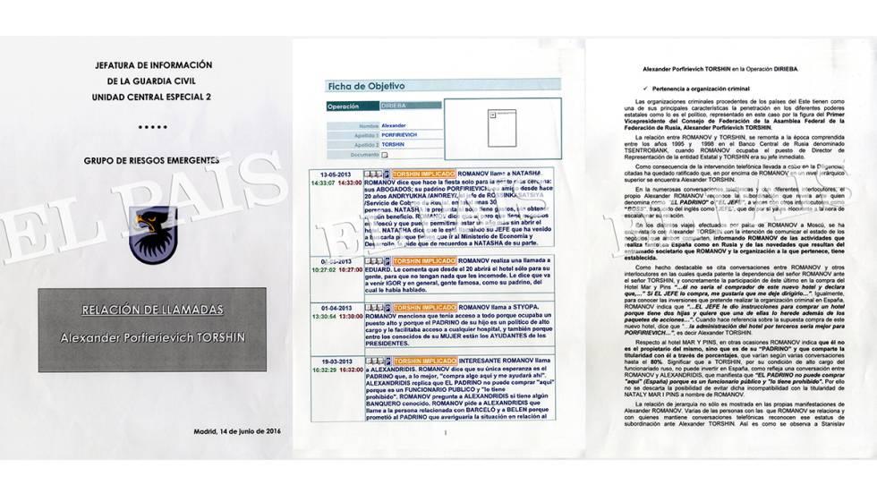 Vista de los documentos de la Guardia Civil sobre la investigación a Torshin en España.