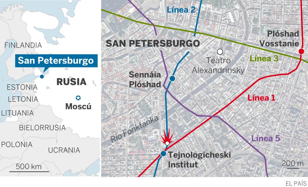 Atentado en San Petersburgo: 11 muertos y 45 heridos en una explosión en el metro