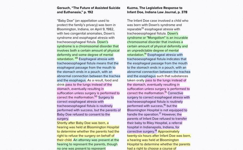 Comparación entre el texto original y el de Gorsuch elaborada por POLITICO.