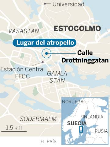 Un atentado con un camión en Estocolmo causa varios muertos y 15 heridos