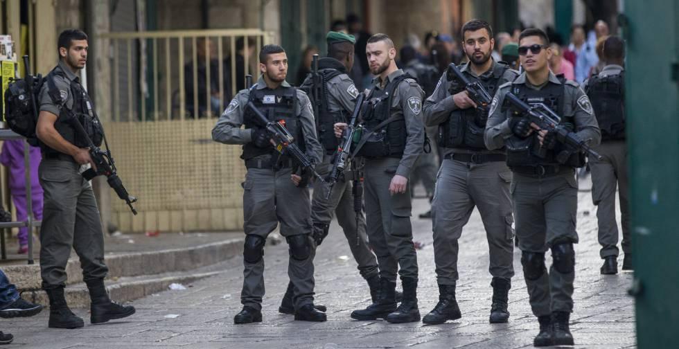 Despliegue de la policía israelí en la Ciudad Antigua de Jerusalén.