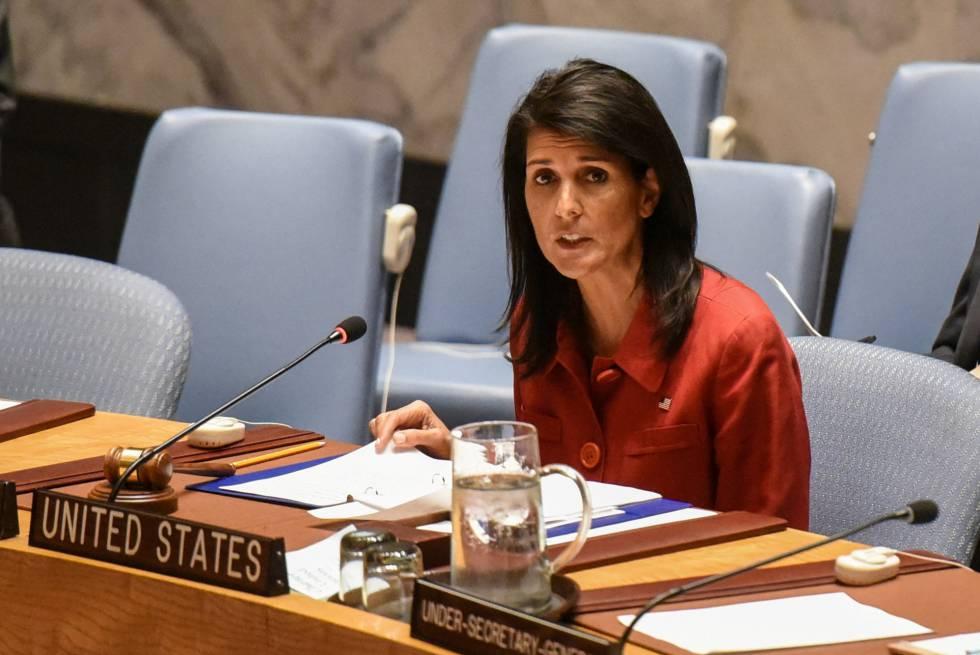 La embajadora Nikki Haley en una intervención ante el Consejo de Seguridad de la ONU el 7 de abril en Nueva York.