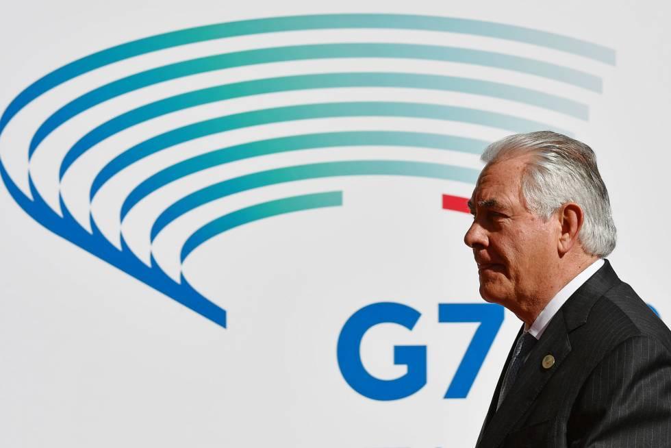 El secretario de Estado de EE UU Rex Tillerson este lunes en Lucca, Italia.