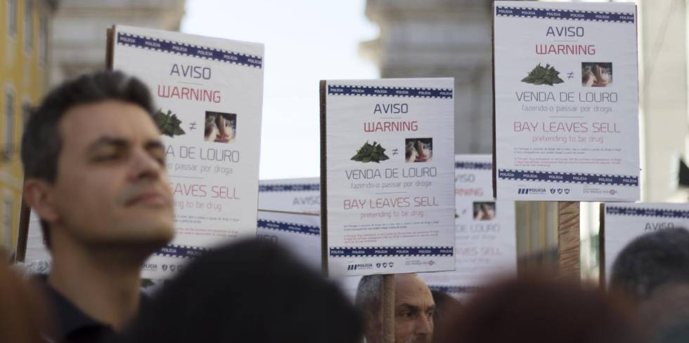 Manifestación a principios de abril contra la venta de laurel en Lisboa.