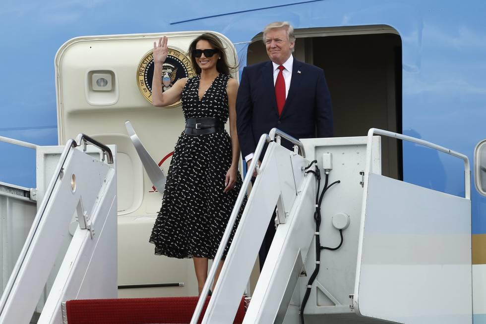 Donald y Melania Trump llegan el 6 de abril a Florida a bordo del Air Force One.