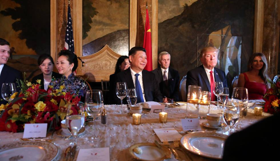 Cena de bienvenida al presidente Xi Jinping en Mar-a-Lago.