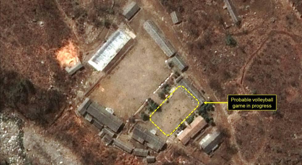 Atividade incomum em uma base nuclear norte-coreana: um jogo de voleibol