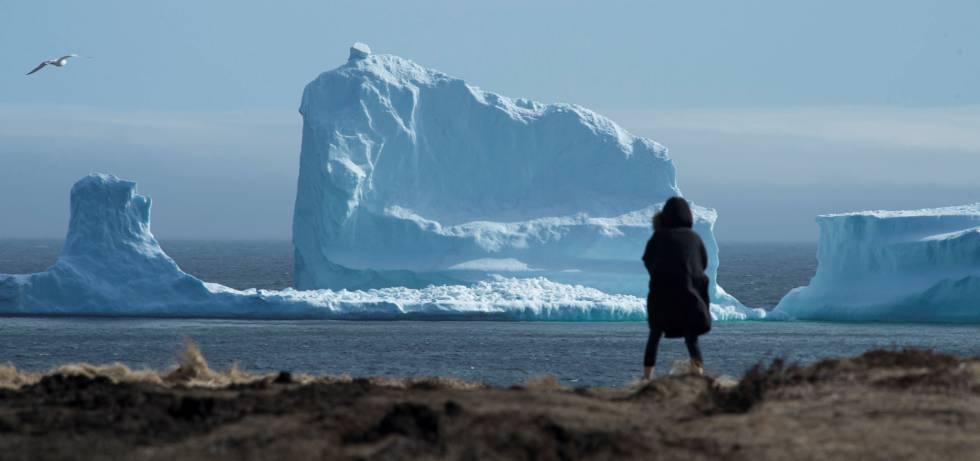 Una chica en la costa en la que apareció el iceberg, la semana pasada.
