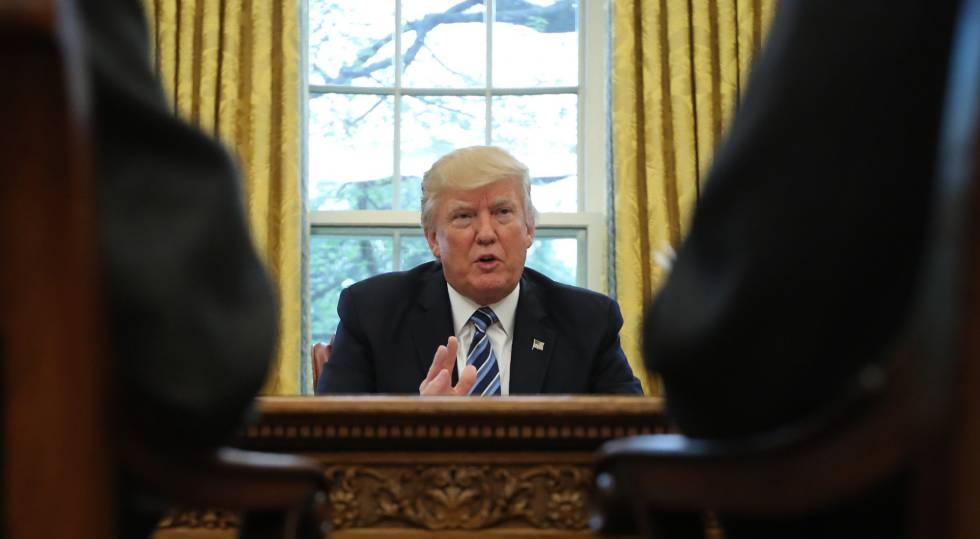 Donald Trump durante su entrevista con Reuters.