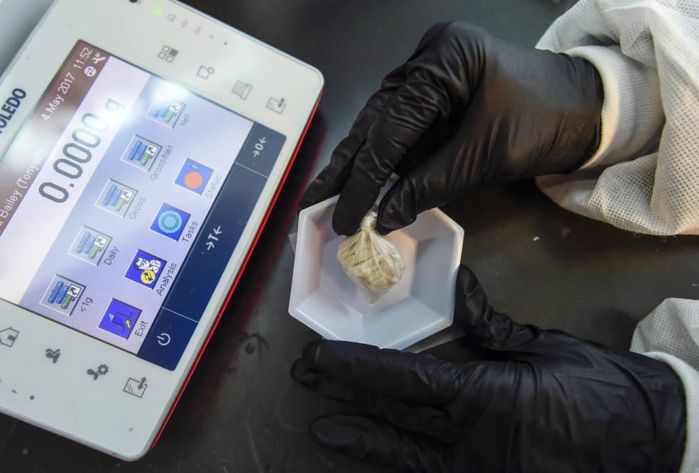 Un forense de Georgia con una muestra de la 'Muerte Gris'.