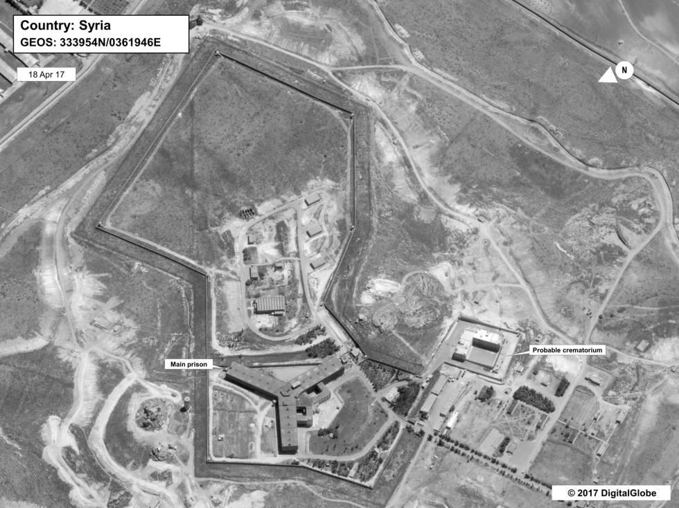Imagen de satélite facilitada por el Departamento de Estado de la prisión de Saidnaya y su posible crematorio. La foto fue tomada, según EEUU, el 18 de abril de 2017.