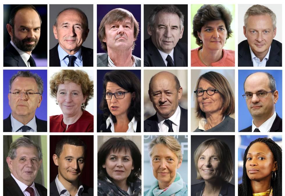 Algunos de los ministros que forman el nuevo Gabinete de Macron.