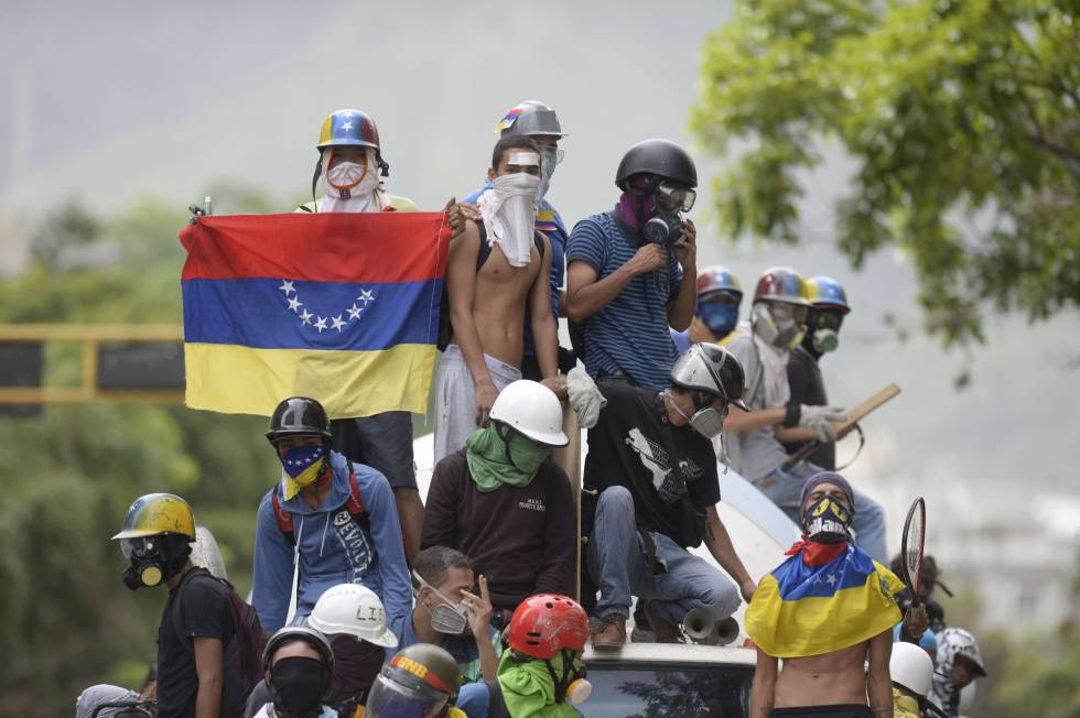 Manifestantes en Caracas.