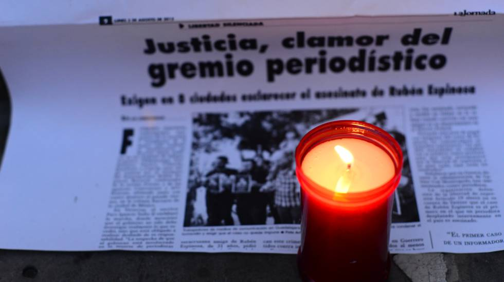 Protesta en México contra la violencia hacia la prensa.