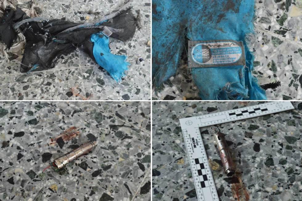 Cuatro de las fotos con restos de la bomba publicadas por 'The New York Times'.