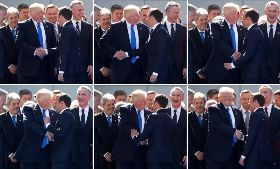 Resultado de imagen para Combo de la secuencia de imágenes del apretón de manos entre Macron y Trump antes de posar para la foto oficial de la cumbre del G7