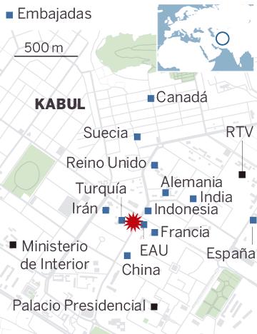 Mapa de localización del atentado en Kabul