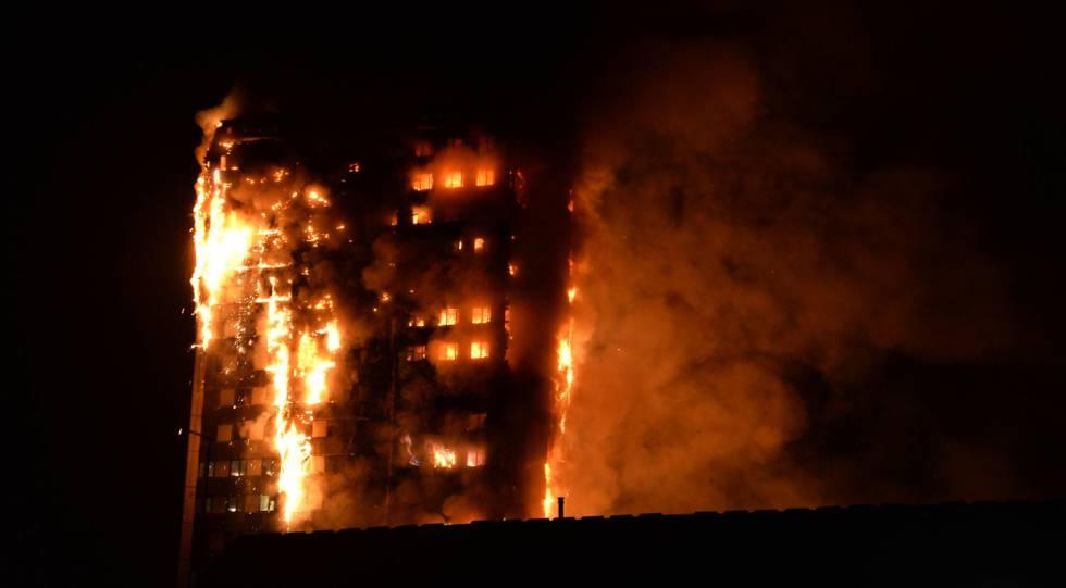 Incendio en un edificio de Londres.