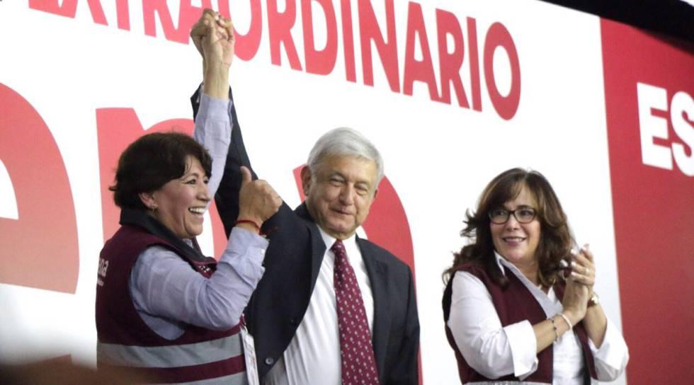 López Obrador y Delfina Gómez, en un acto reciente.