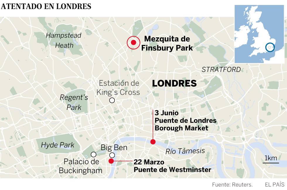 Un muerto y diez heridos en un atentado terrorista junto a una mezquita en Londres