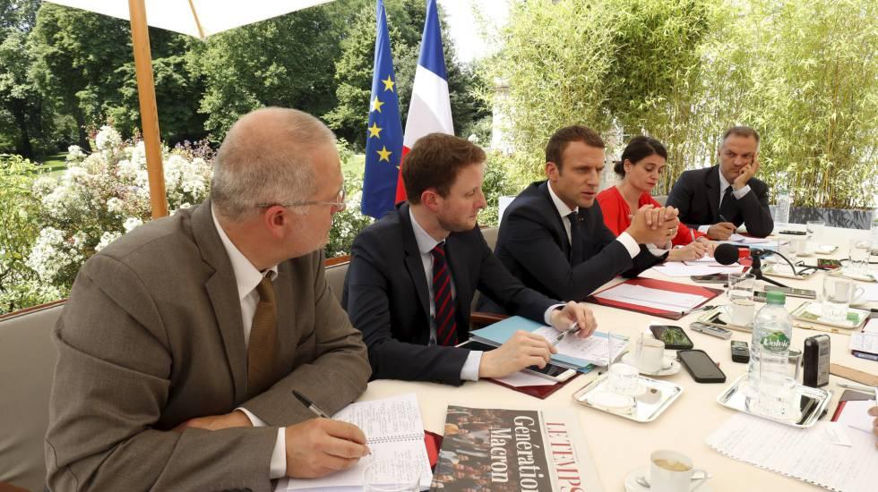 Imagen de la entrevista al presidente de Francia, Emmanuel Macron.