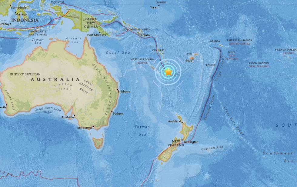SHOA descarta riesgo de tsunami tras terremoto 7.1 Richter en Nueva Caledonia