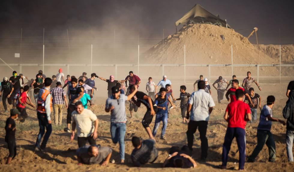 Ocho palestinos heridos por disparos israelíes durante protestas en Gaza
