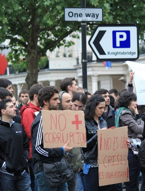 Algunos de los participantes en la protesta de Londres.