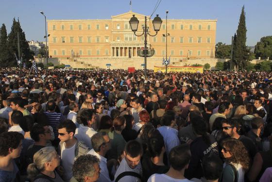 Concentración frente al Parlamento griego.