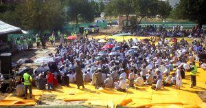 Concentración de musulmanes en el campus de la mezquita de Reus