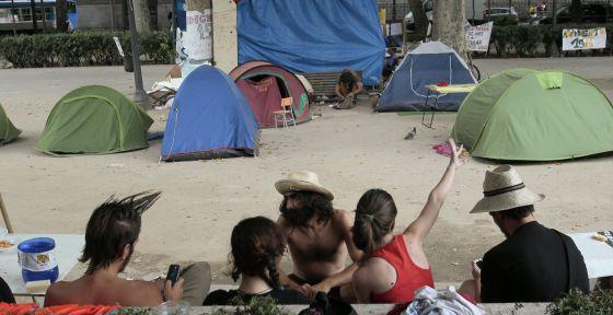 Un campamento de los indignados en Madrid.