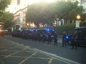 Aspecto del Ministerio de Interior a la llegada de la marcha de protesta.