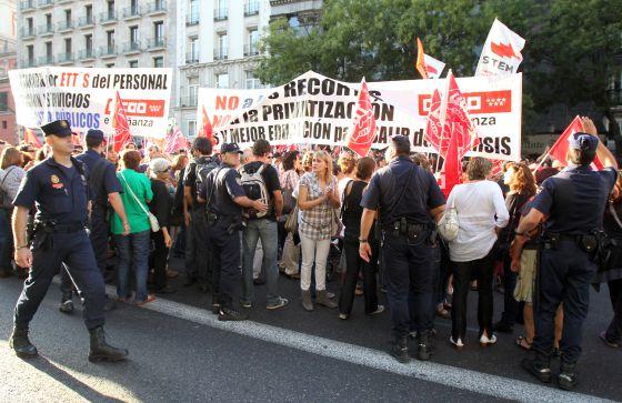 Concentración de profesores en Madrid, el pasado otoño, contra los recortes.