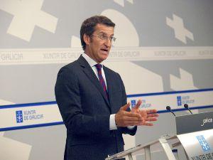 Alberto Nuñez Feijóo, ayer en rueda de prensa.