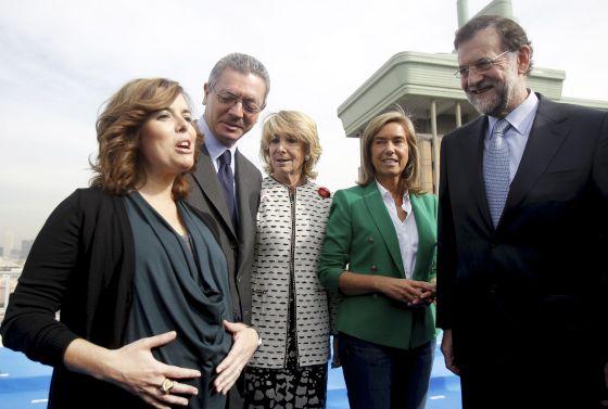 Soraya Sáenz de Santamaría, Alberto Ruiz-Gallardón, Esperanza Aguirre, Ana Mato y Mariano Rajoy,