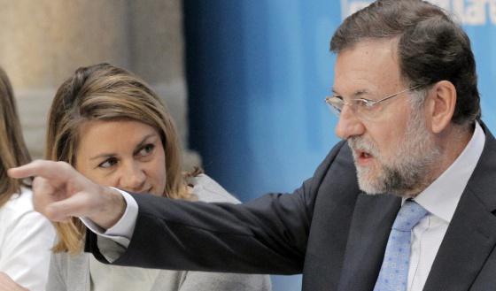 Mariano Rajoy, junto a Dolores de Cospedal, durante el Comité Ejecutivo Nacional del partido.