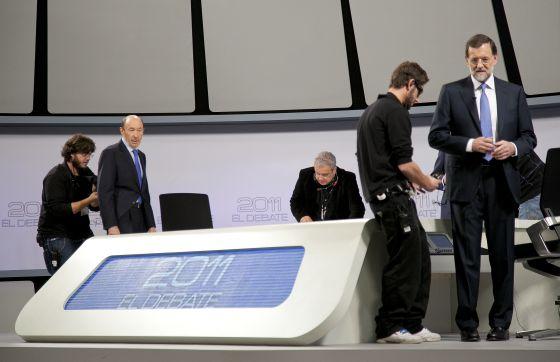Rubalcaba y Rajoy antes del debate.