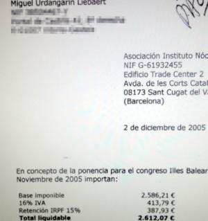 Factura de 2.600 euros del hermano de Iñaki urdangarin, Miguel Urdangarin, por una ponencia.