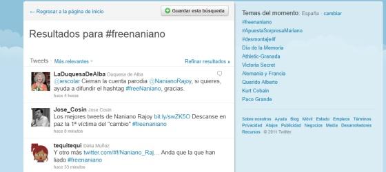 #freenaniano, la respuesta al borrado de la cuenta de Naniano Rajoy.