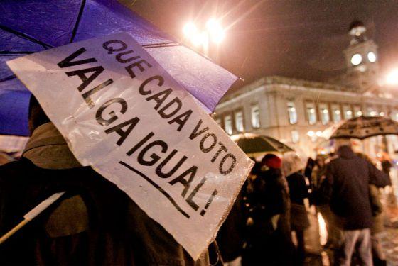 Concentración de los indignados en la Puerta del Sol.