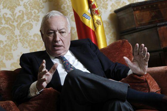 El ministro de Exteriores, José Manuel García-Margallo, durante la entrevista.