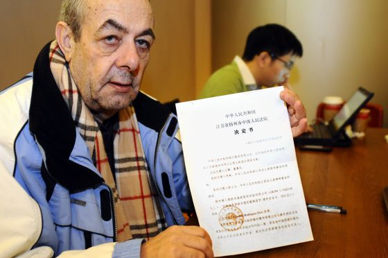 Cándido Rodríguez, el empresario gallego retenido, en China.