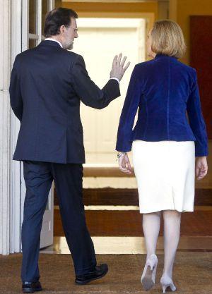 Mariano Rajoy y Luisa Fernanda Rudi, ayer en el palacio de la Moncloa.