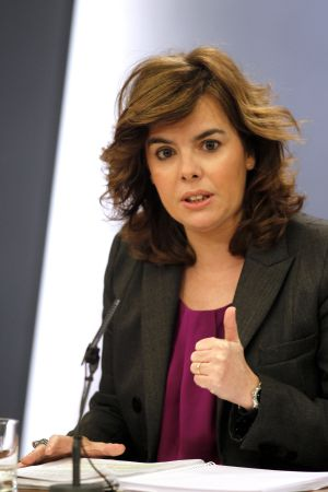 Soraya Sánez de Santamaría, tras el último Consejo de Ministros.