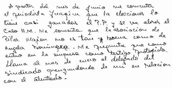 Manuscrito de una de las testigos.