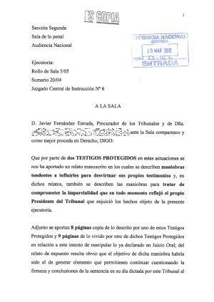 Primera página de la denuncia, con el sello de entrada en la Audiencia Nacional.